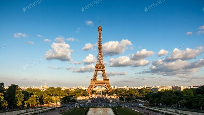 The Eiffel Tower, landmark of Paris, France