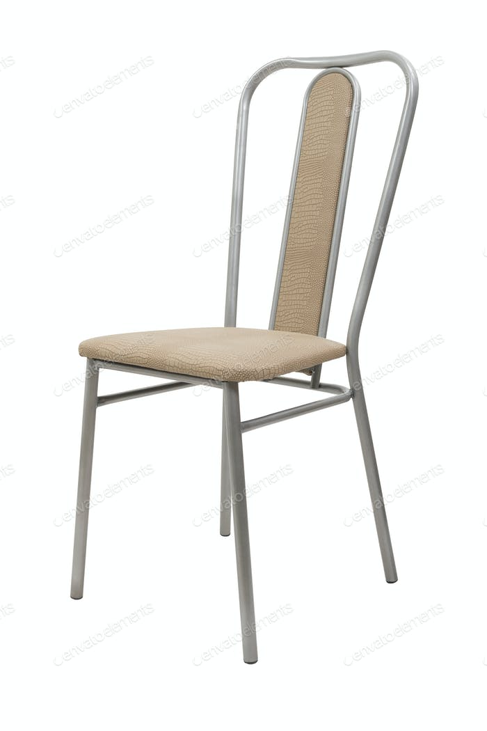 Metal chair with leather accents on a white isolated background