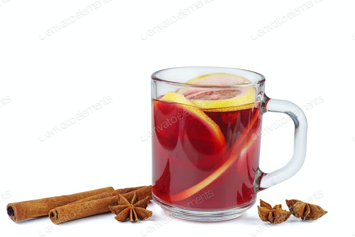 Christmas mulled wine , anise stars and cinnamon sticks isolated on white background