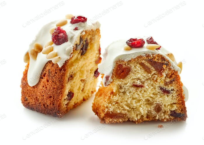 two pieces of fruit cake