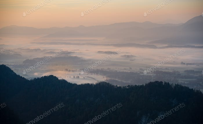 Hazy sunset in the mountains