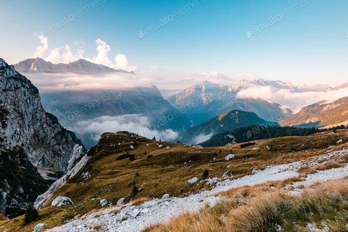 Panoramic View Over Picturesque Mountain Landscape in Julian Alp
