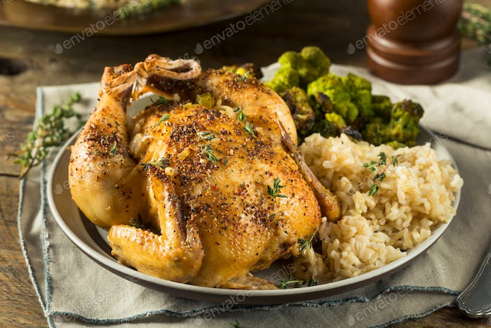 Herby Baked Cornish Wild Hens