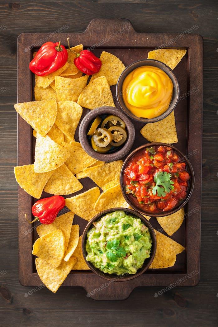 mexikanische Nachos-Tortilla-Chips mit Guacamole, Salsa und Käse d
