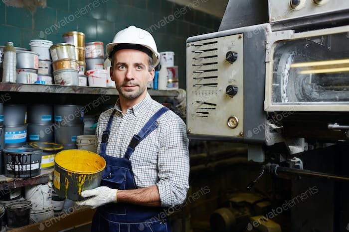 Worker in factory storehouse