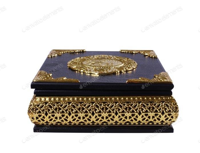 Black and Gold Quran Box isolated