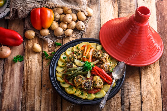 Chermoula fish tajine with bell peppers, moroccan cousine.