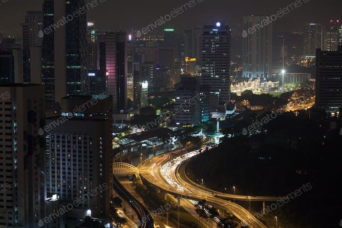 Night transport traffic in Kuala Lumpur, Malaysia