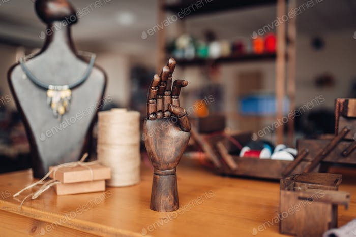 Needlework tools on table in workshop, bijouterie