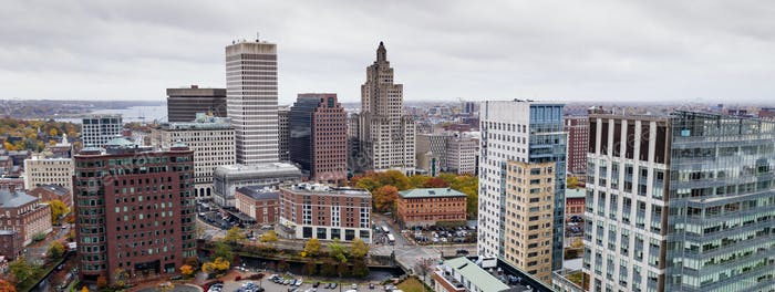 Aerial View Over Providence Rhode Island State Capital City