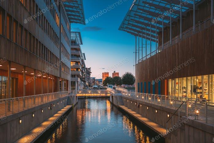 Oslo, Norway. Astrup Fearnley Museum of Modern Art, Residential Multi-storey Houses In Aker Brygge