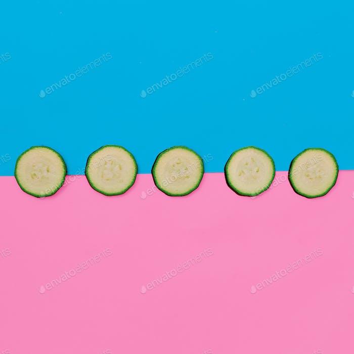 Zucchini. Candy Colors Vegan minimal style