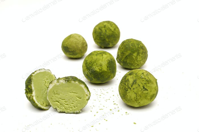 Matcha Truffle in white chocolate shell