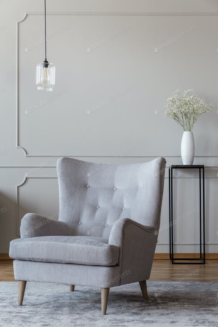 Light gray, elegant armchair and a black vase standing in a soph