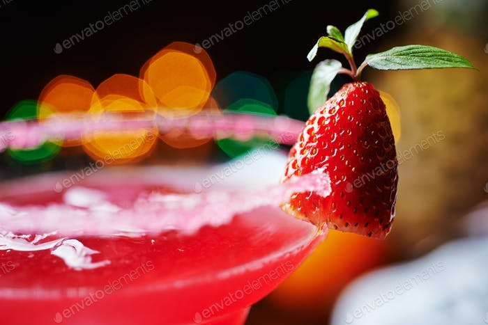 Thumbnail for strawberry daiquiri on a table in restaurant. soft focus.