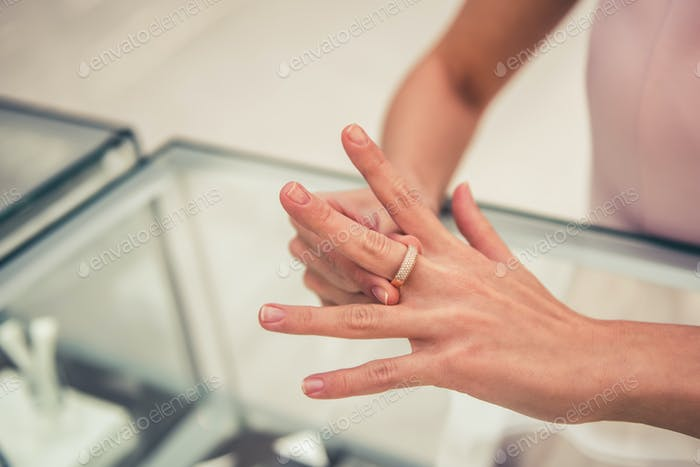 Woman buying a ring