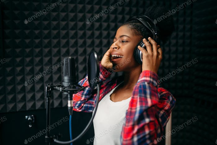 Thumbnail for Female singer songs in audio recording studio