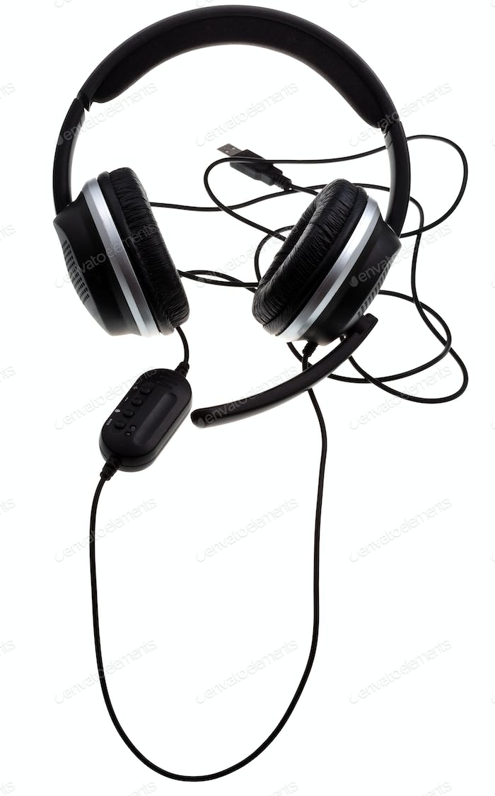 black headphones with USB port
