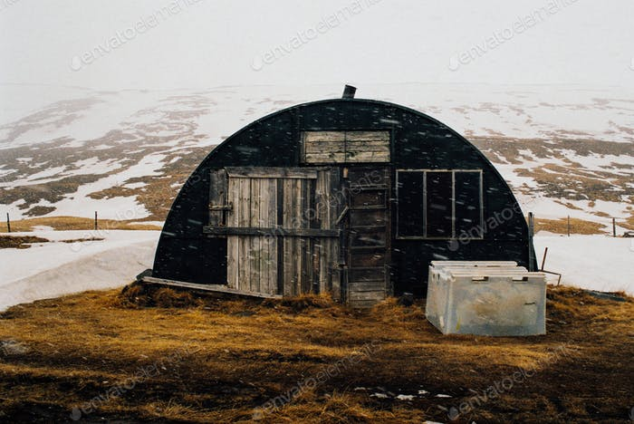 Shed in Snow Storm
