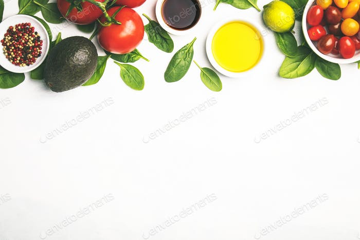Fresh vegetables background, flat lay, top view