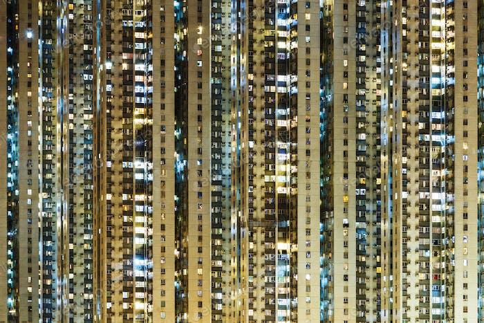 illuminated residential building