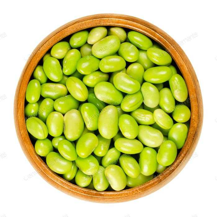 Edamame. Green soybeans in wooden bowl