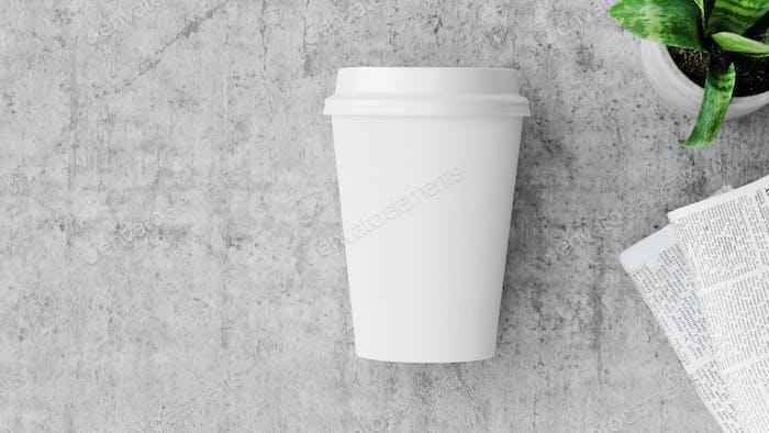 Paper coffee cups takeaway mock-up for branding.