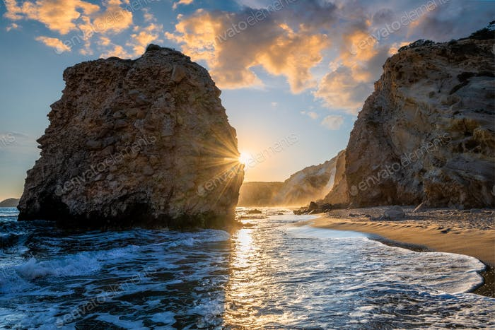 Fyriplaka beach on sunset, Milos island, Cyclades, Greece