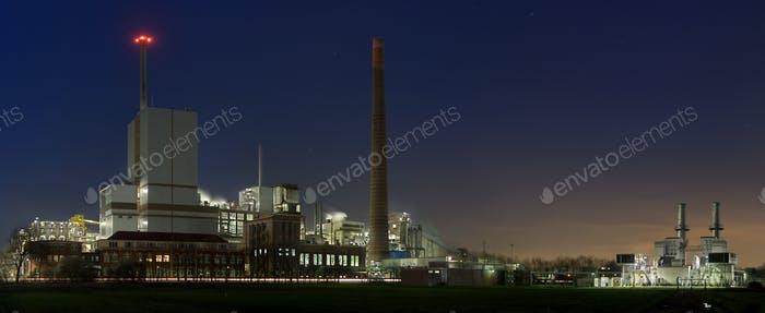 Chemical Industry At Night Panorama
