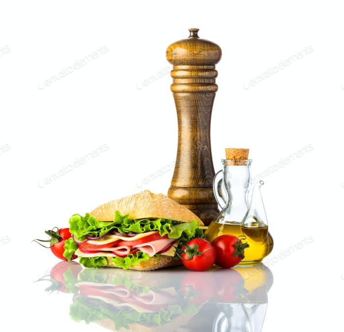 Sandwich with Seasoning and Spices on White Background