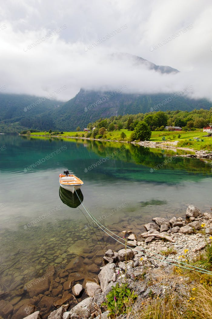 beautyful landscape lake and boat, Norway