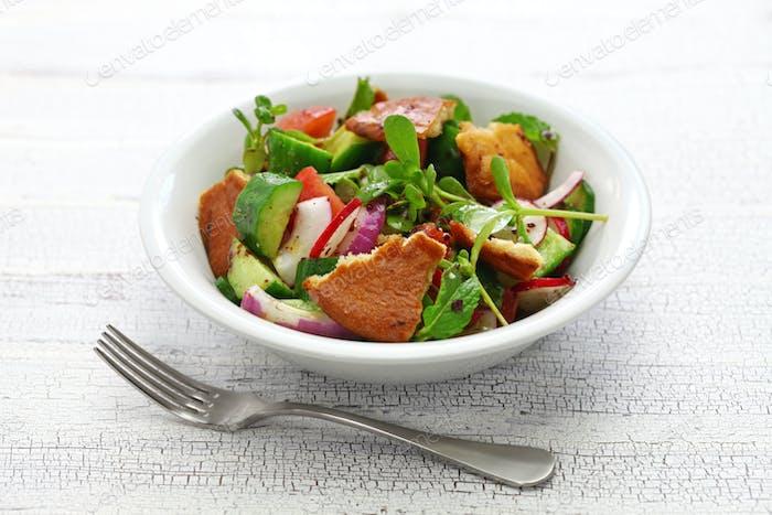 fattoush salad with sumac and pita bread