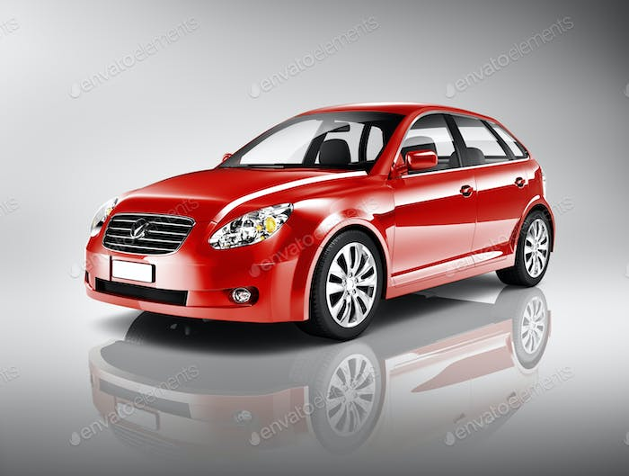 Three-Dimensional Shape Red Sedan Studio Shot