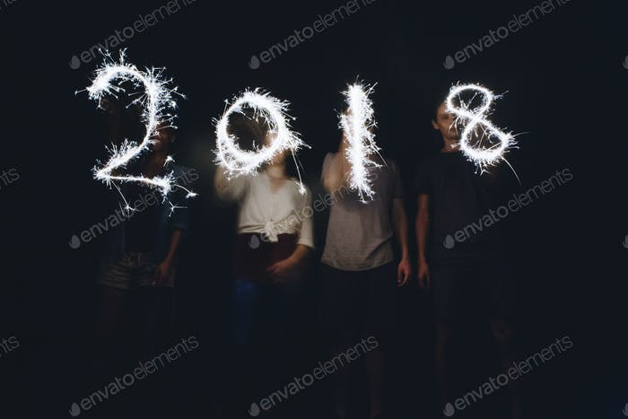 Sparklers forming the numbers 2018 new years and celebration concept