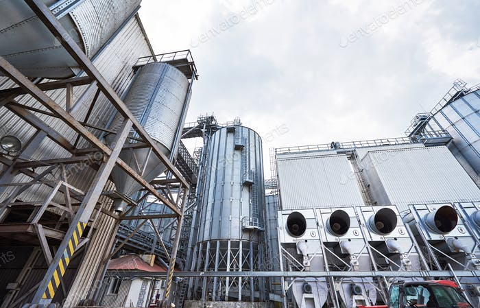 Agricultural Silos. Building Exterior. Storage and drying of grains, wheat, corn, soy, sunflower