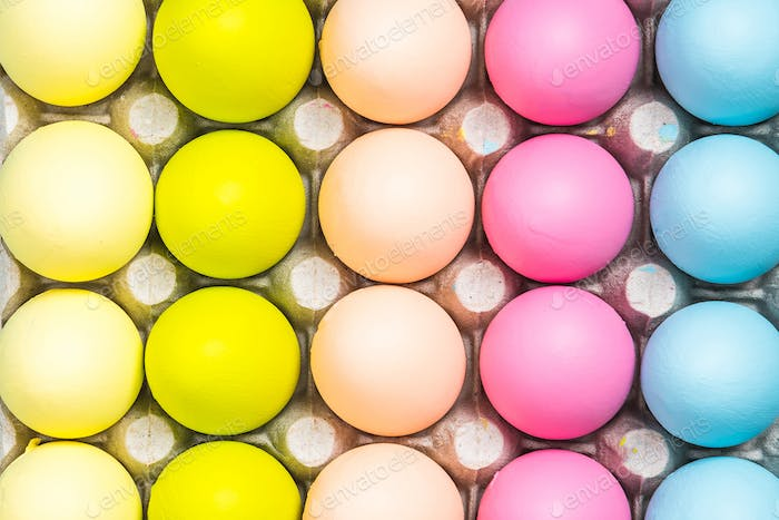 Colorful Easter Eggs close up view
