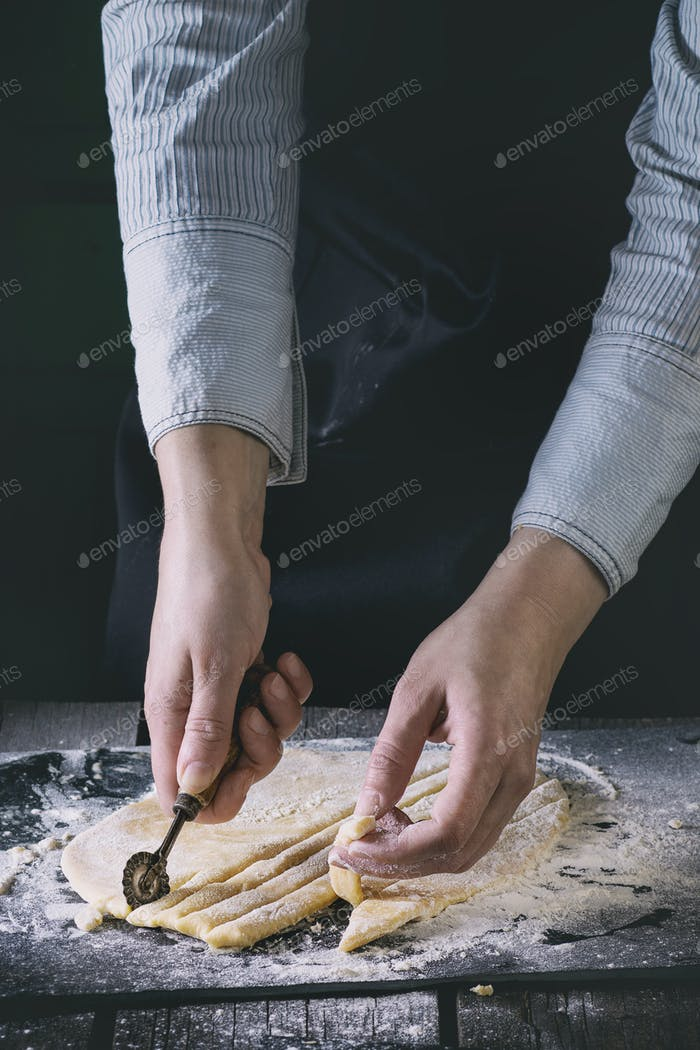 Rolled out dough for pasta
