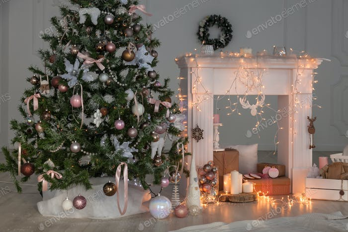 Happy New Year Christmas decor,  Background, fireplace,  tree.  card