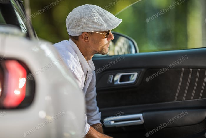 Young Driver in Stylish Beret