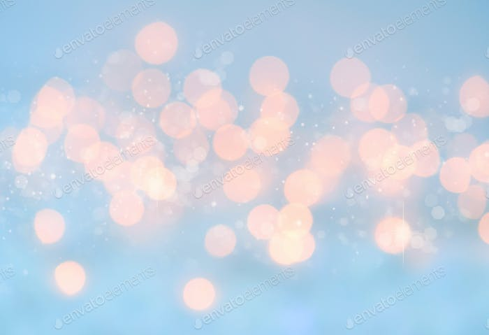 Lights on blue background. Christmas festive background