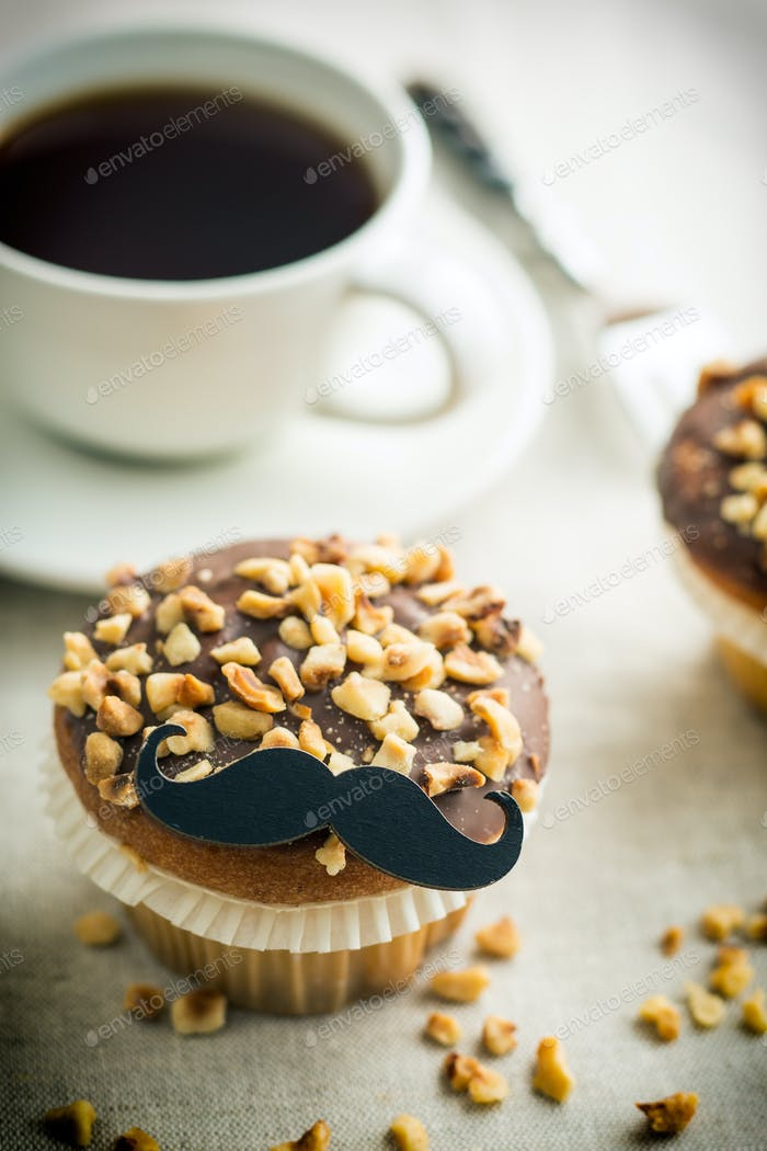 Sweet hazelnut muffin with mustache.