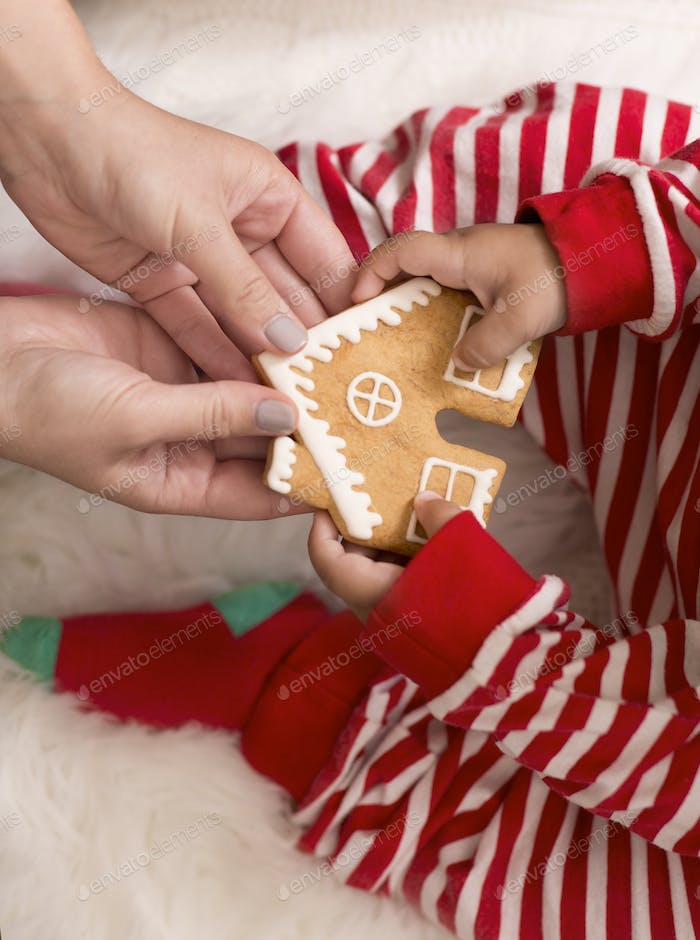 Mother giving fresh handmade gingerbread house to baby
