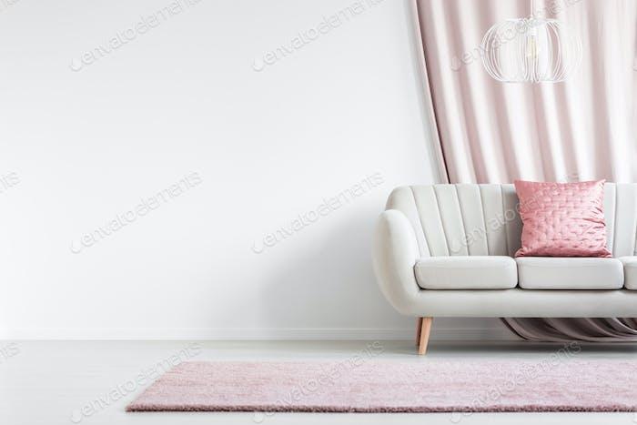 Satin pillow in living room