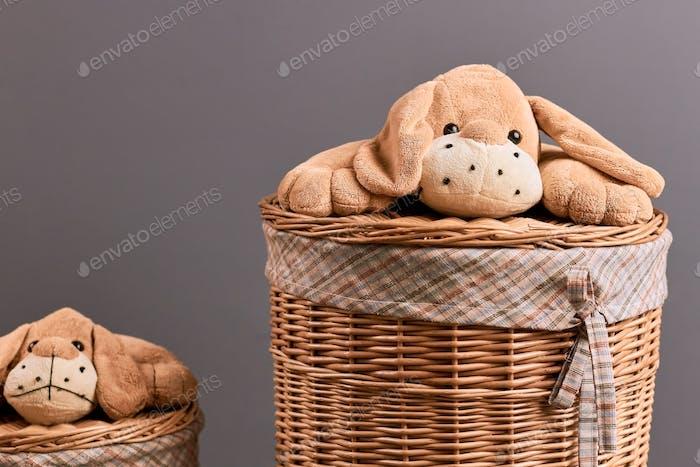 Runder Wäschekorb aus Weide