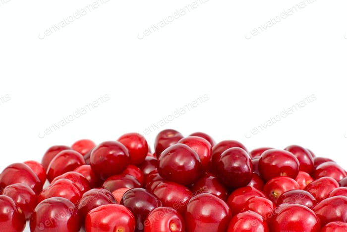 Pile of the red cherries without stalks
