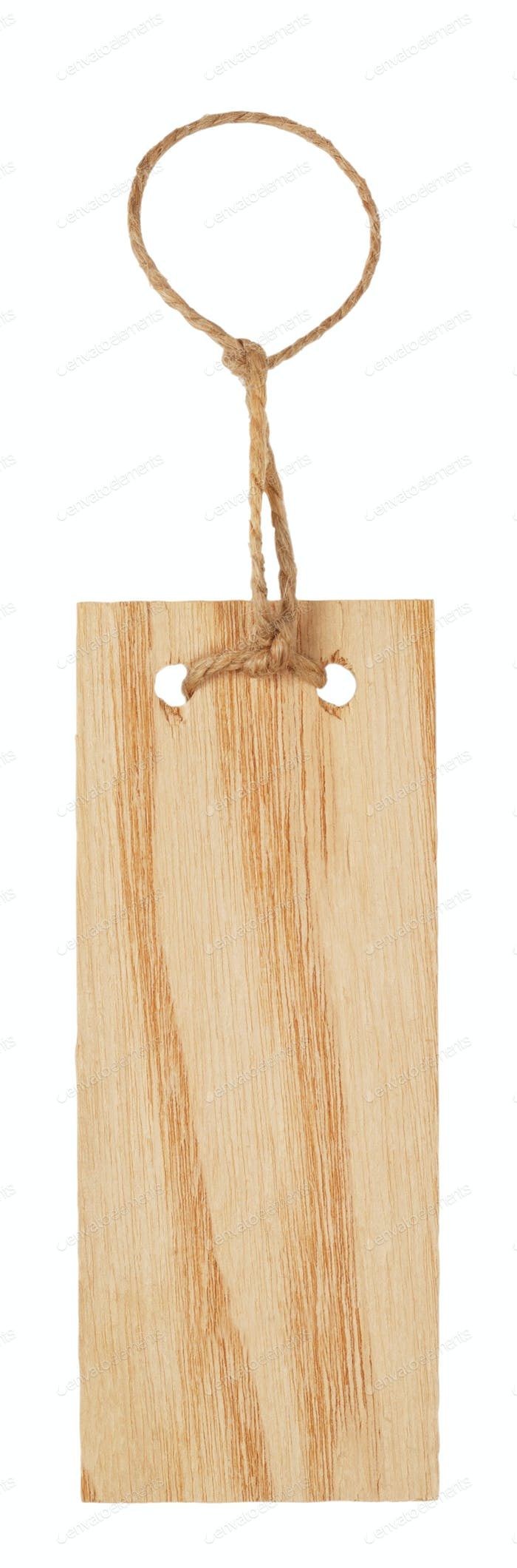 Wooden label with rope
