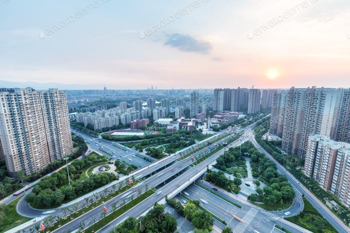 city overpass at dusk