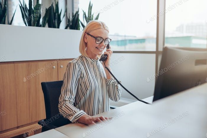 Young businesswoman talking on a telephone at her office desk