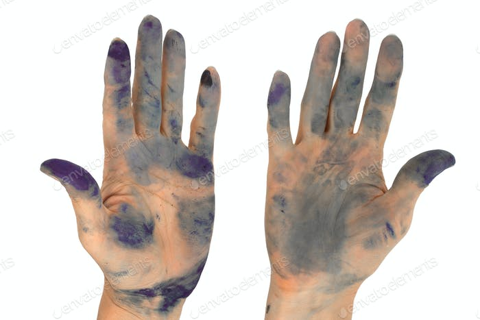 Woman's hands soiled by in ink, isolated on white background