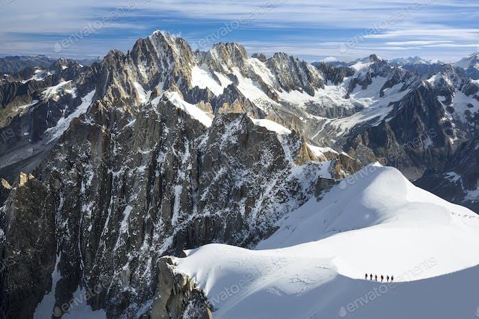 54498,Mountaineers heading to Mt. Blanc, Chamonix, France
